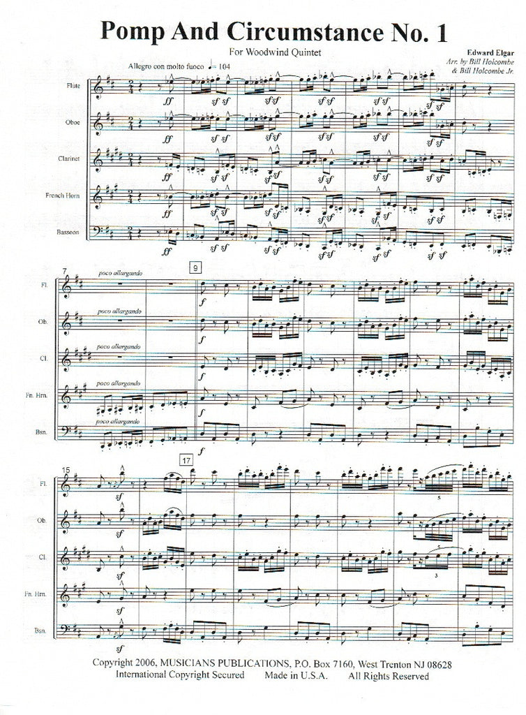Pomp circumstance 1 score parts ww5 trevco varner for Pomp and circumstance