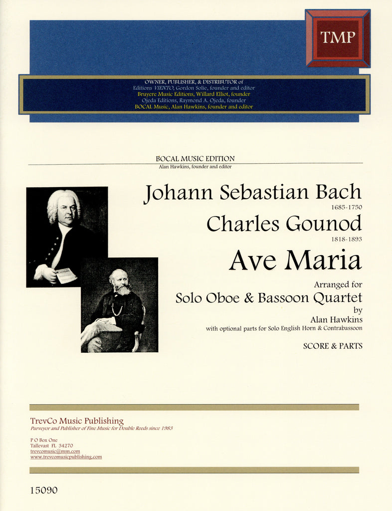 Bach/Gounod % Ave Maria (Score & Parts)-Solo OB/4BSN or EH/4BSN