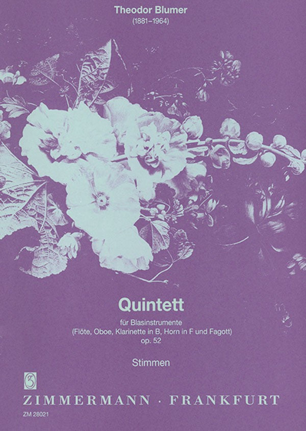 Blumer, Theodor % Quintet Op 52 (parts only)-WW5