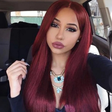 2020 Middle Part Burgundy Straight Front Synthetic Hair Wig