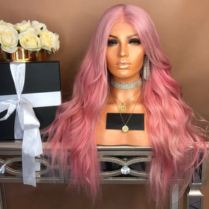 HIALILY-Pink wavy long lace wig