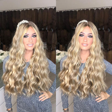 Shining bright blonde long wavy wig