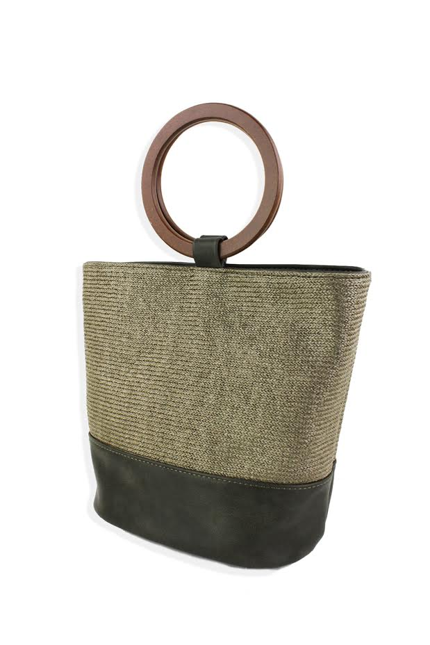 Straw Mini Tote W/ Wood Ring Handle - Olive