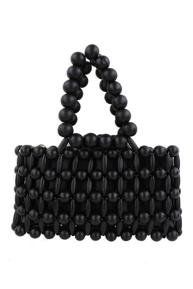 Mini Wood Bead Purse - SL742 - Black