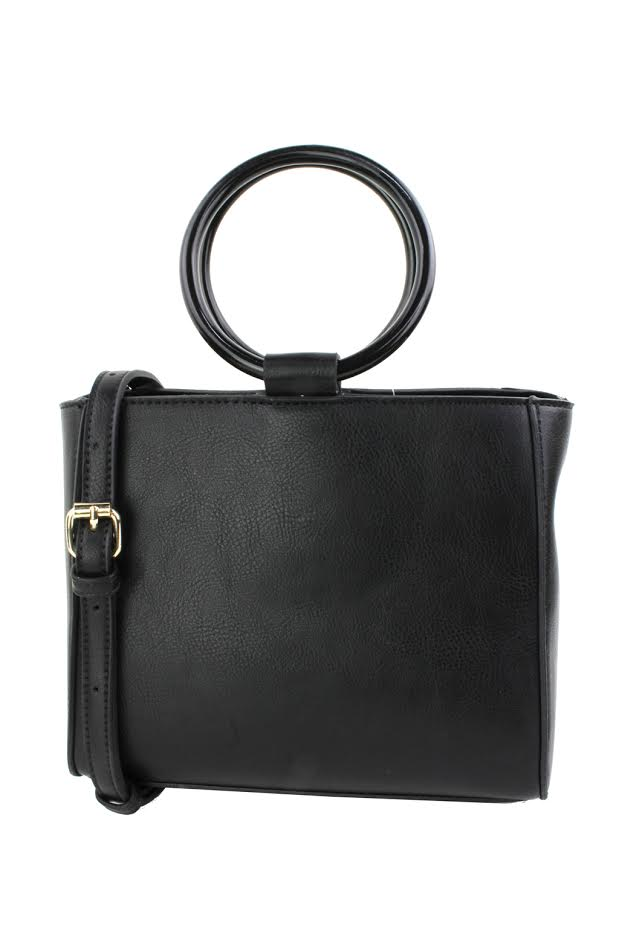 Mini Tote W/ Acrylic Handle - Black