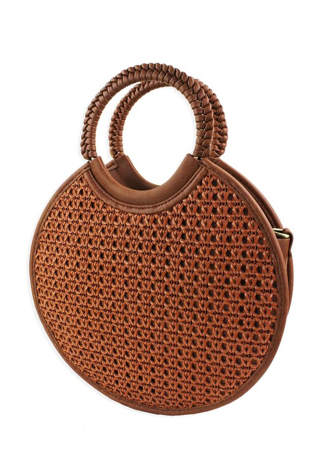 Woven Circle Tote - Brown