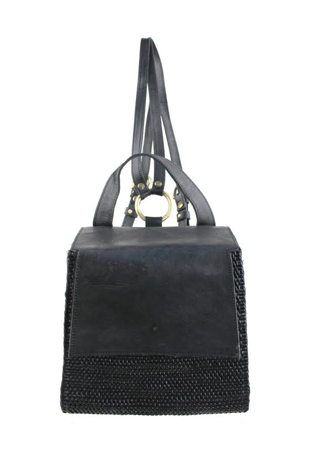 Rattan Backpack W/ Leather Trim - Fini - Black