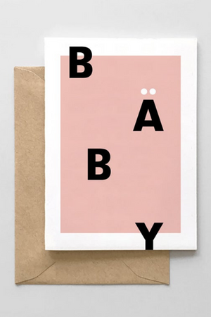 Baby Typographic Card- Pink