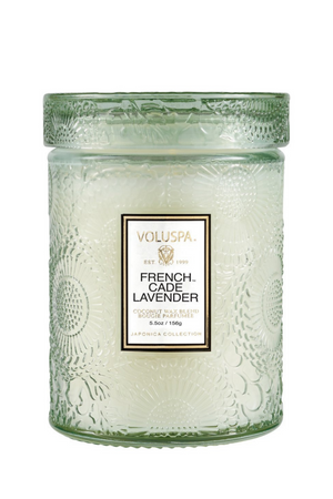 Voluspa Small Embossed Glass Jar - French Cade Lavender