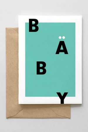 Baby Typographic Card- Mint
