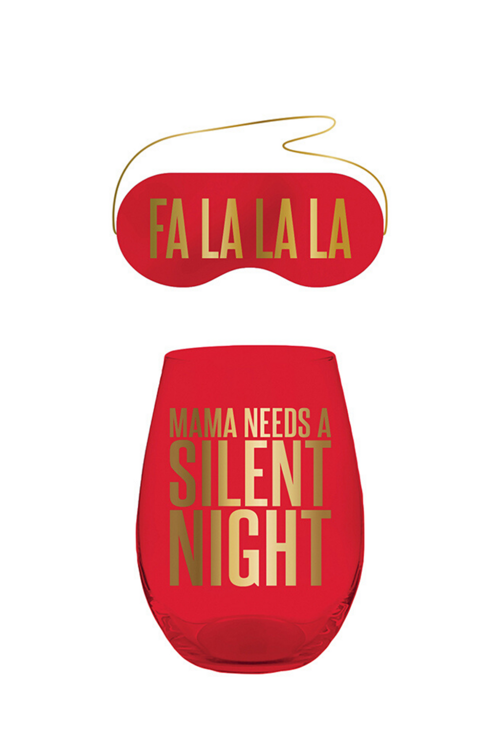Fa La La Eyemask & Wine Glass Set