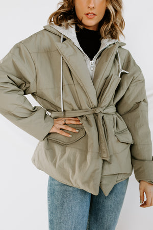 BLANK NYC Hooded Quilted Wrap Jacket