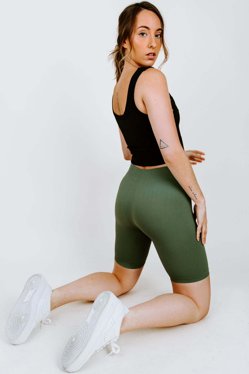 Free People Seamless Rib Bike Short - Army