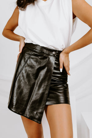 Wrapped Up Faux Leather Skirt