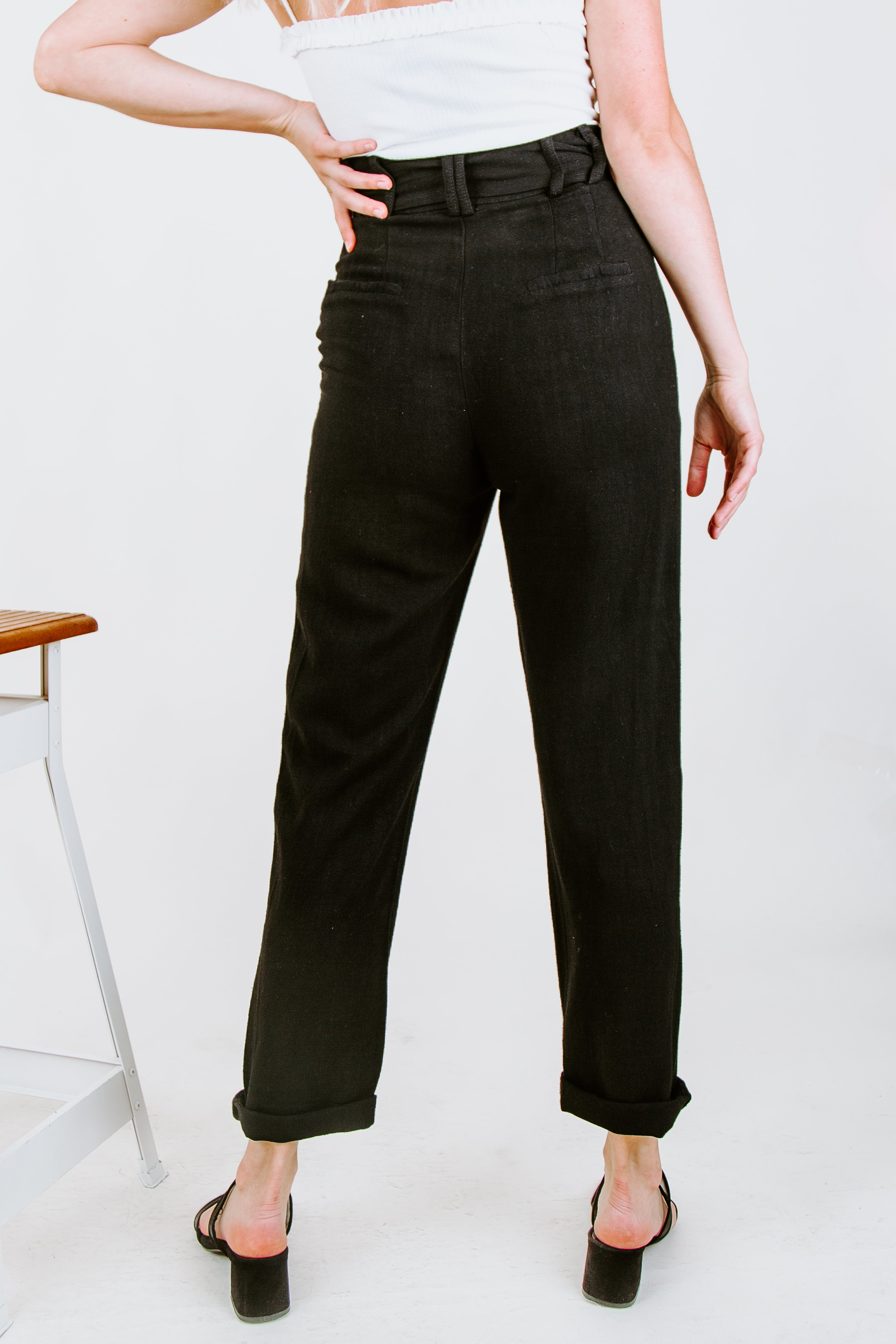 Odette Tie Waist Trousers - Black