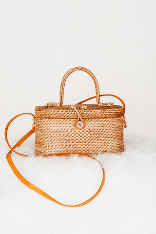 Rattan Circle Crossbody - Yellow