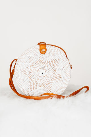 Straw Mini Tote W/ Wood Ring Handle - Natural