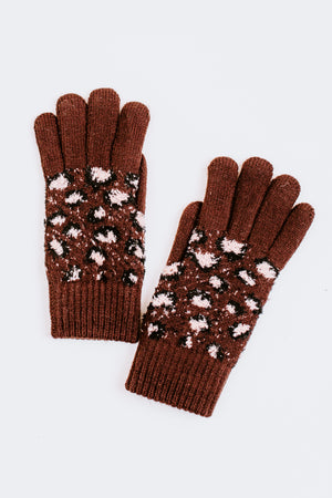 Leopard Print Fur Lined Gloves