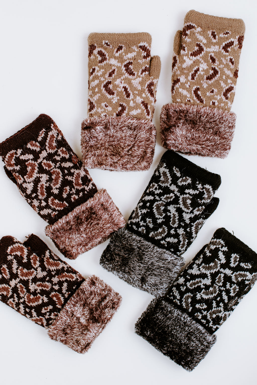 Leopard Print Fur Lined Fingerless Gloves
