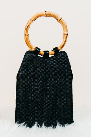 Straw Mini Tote W/ Wood Ring Handle - Black