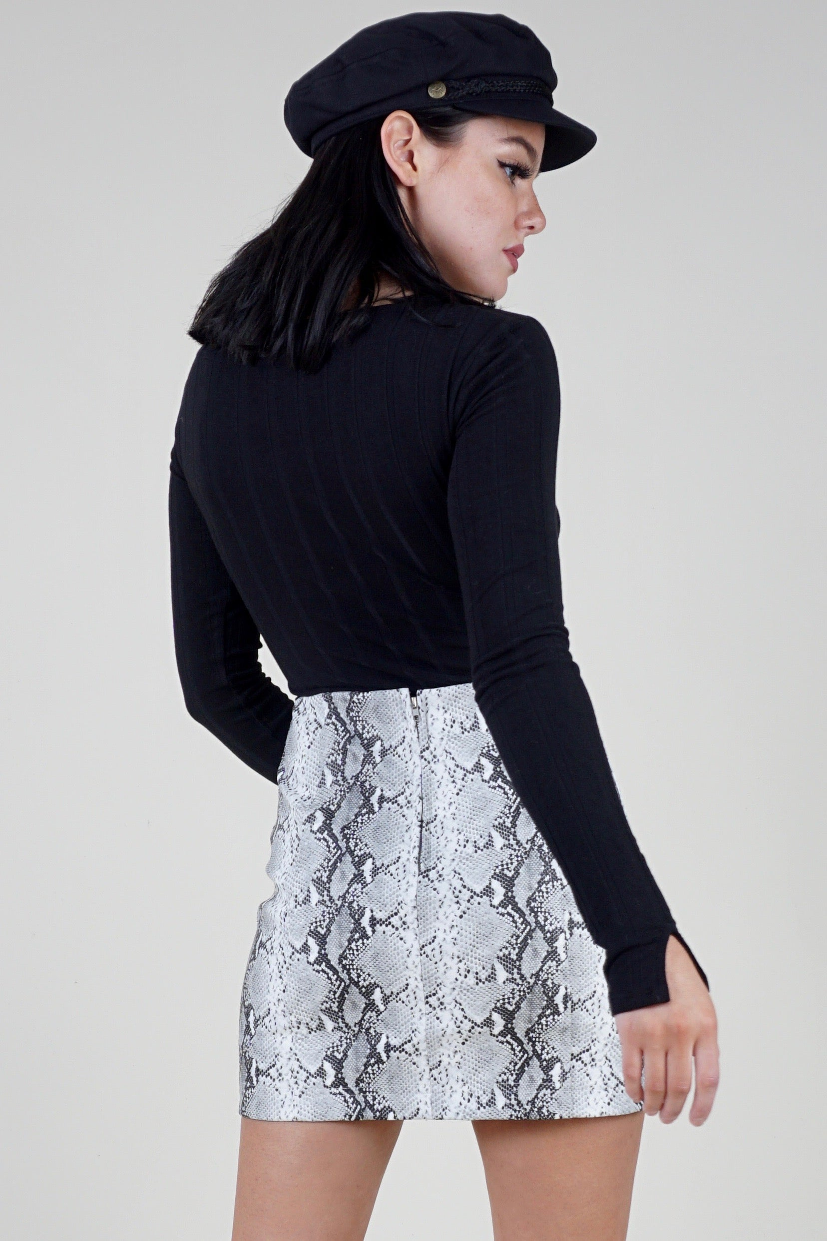 Snake Charmer Mini Skirt - Grey
