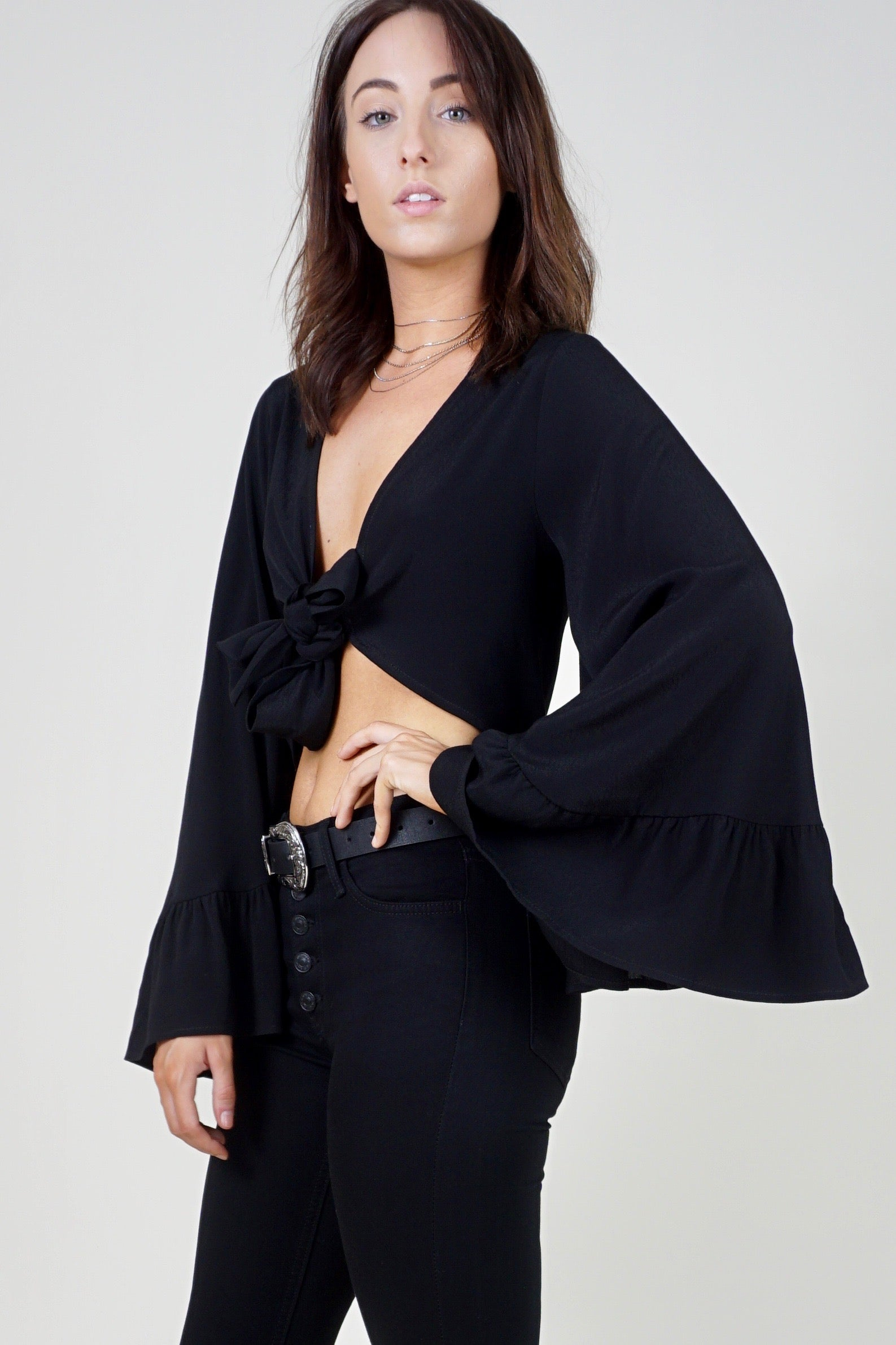 True Gem Tie Top - Black