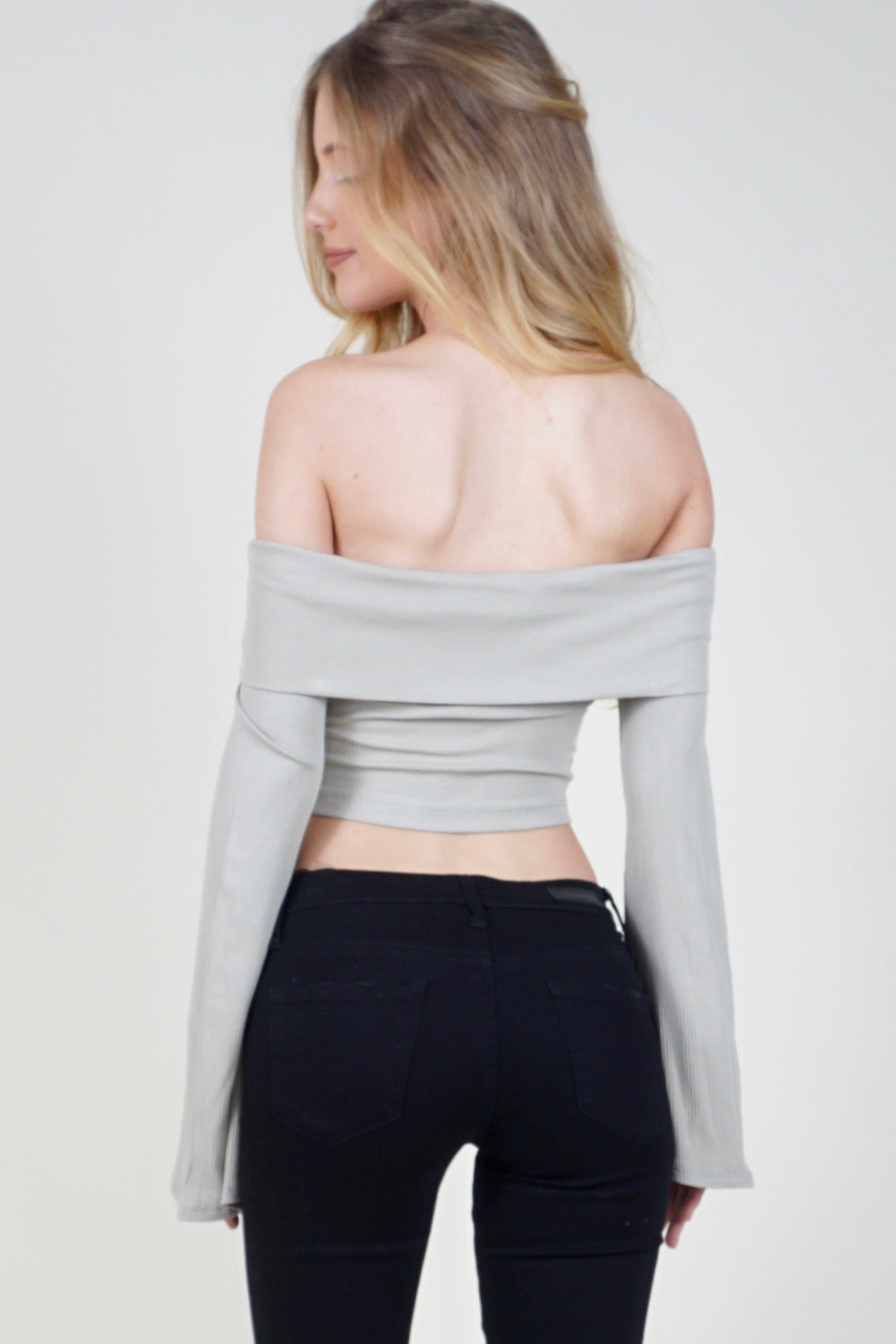 Love My Off-The-Shoulder Crop Top - Stone