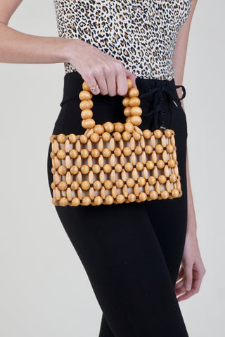 Mini Circle Bag W/ Croc Detail - Brown