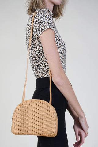 Rattan Backpack W/ Leather Trim - Fini - Tan