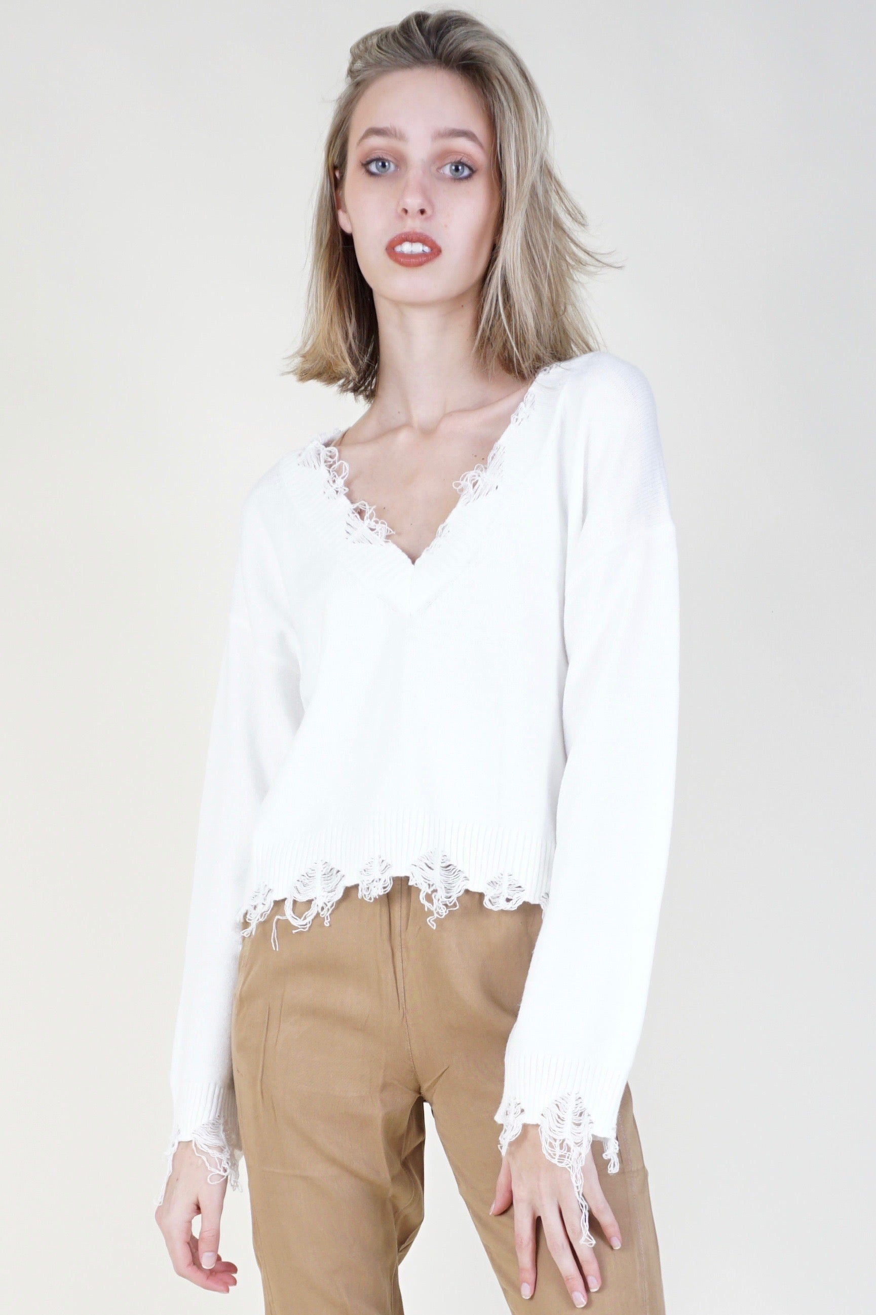 No Chill Distressed Sweater - Ivory