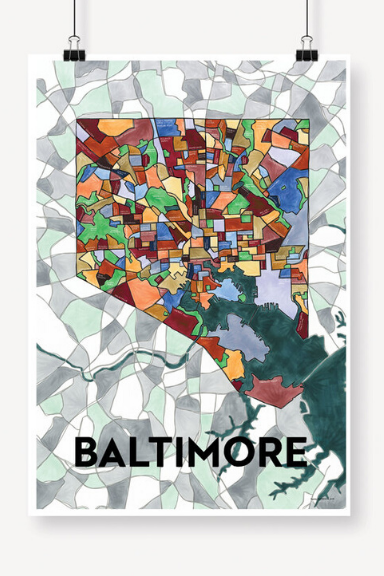 Baltimore Map Print - 13x19