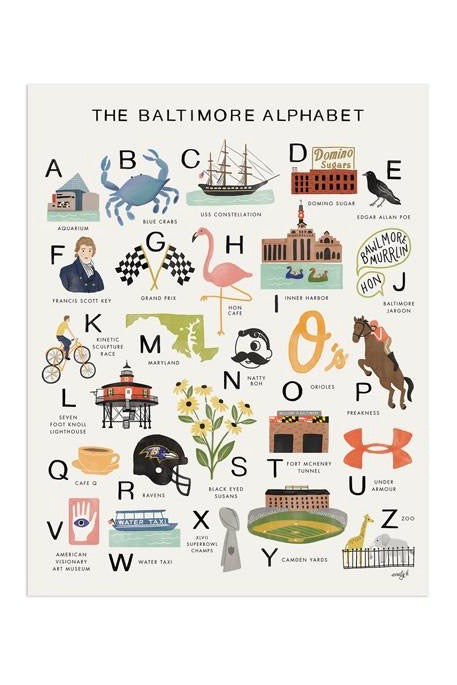 Baltimore Alphabet Print - 11x14