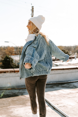 Free People Dolman Quilted Denim Jacket