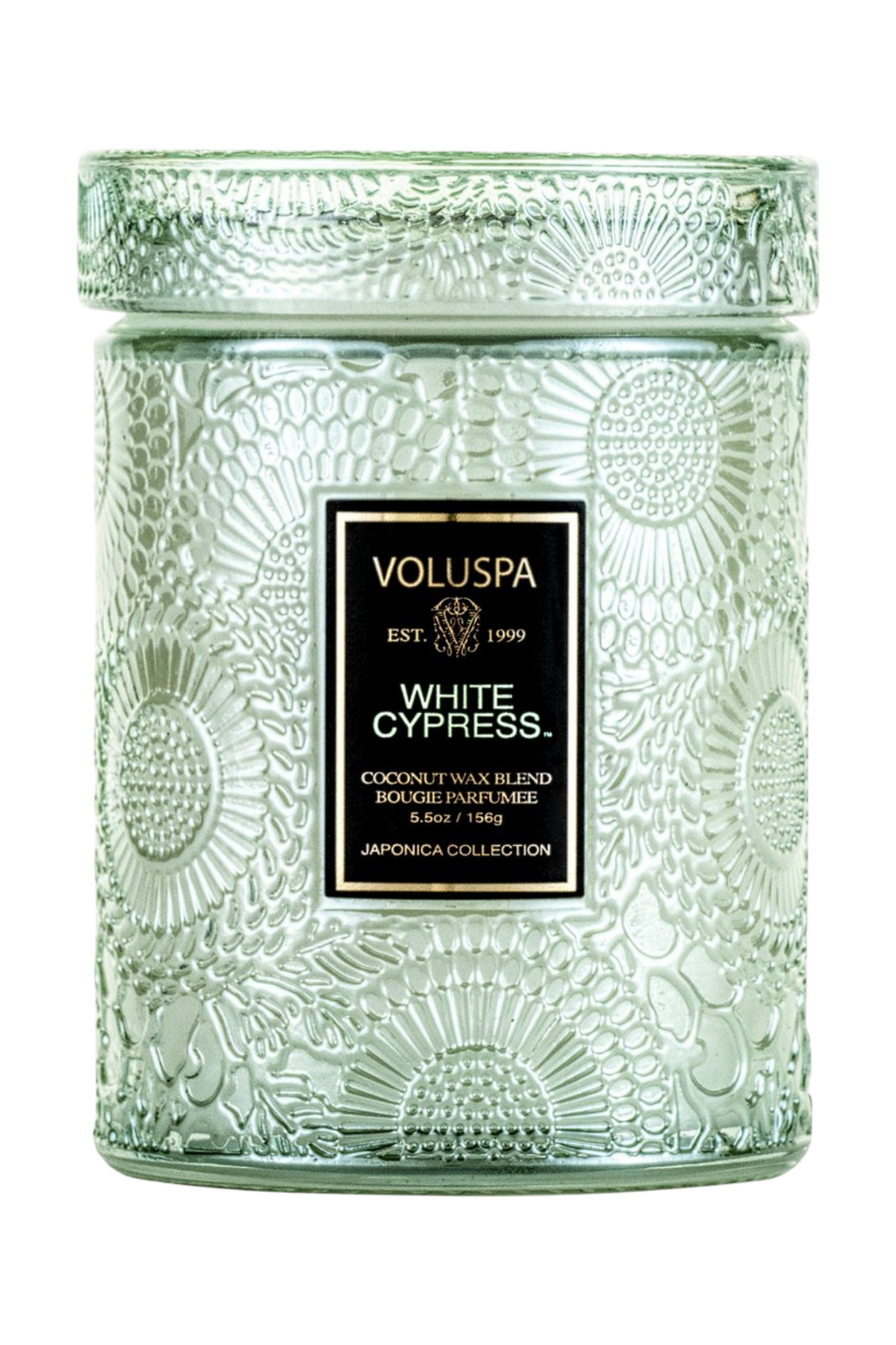 Voluspa Small Embossed Glass Jar - White Cypress