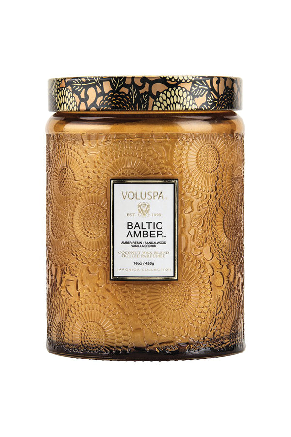 Voluspa Large Embossed Glass Jar - Baltic Amber