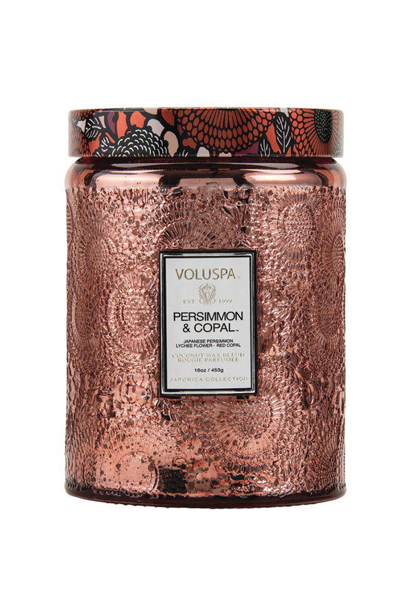 Voluspa Large Embossed Glass Jar - Persimmon And Copal