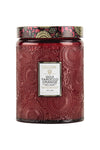Voluspa Large Embossed Glass Jar - Goji Tarocco Orange