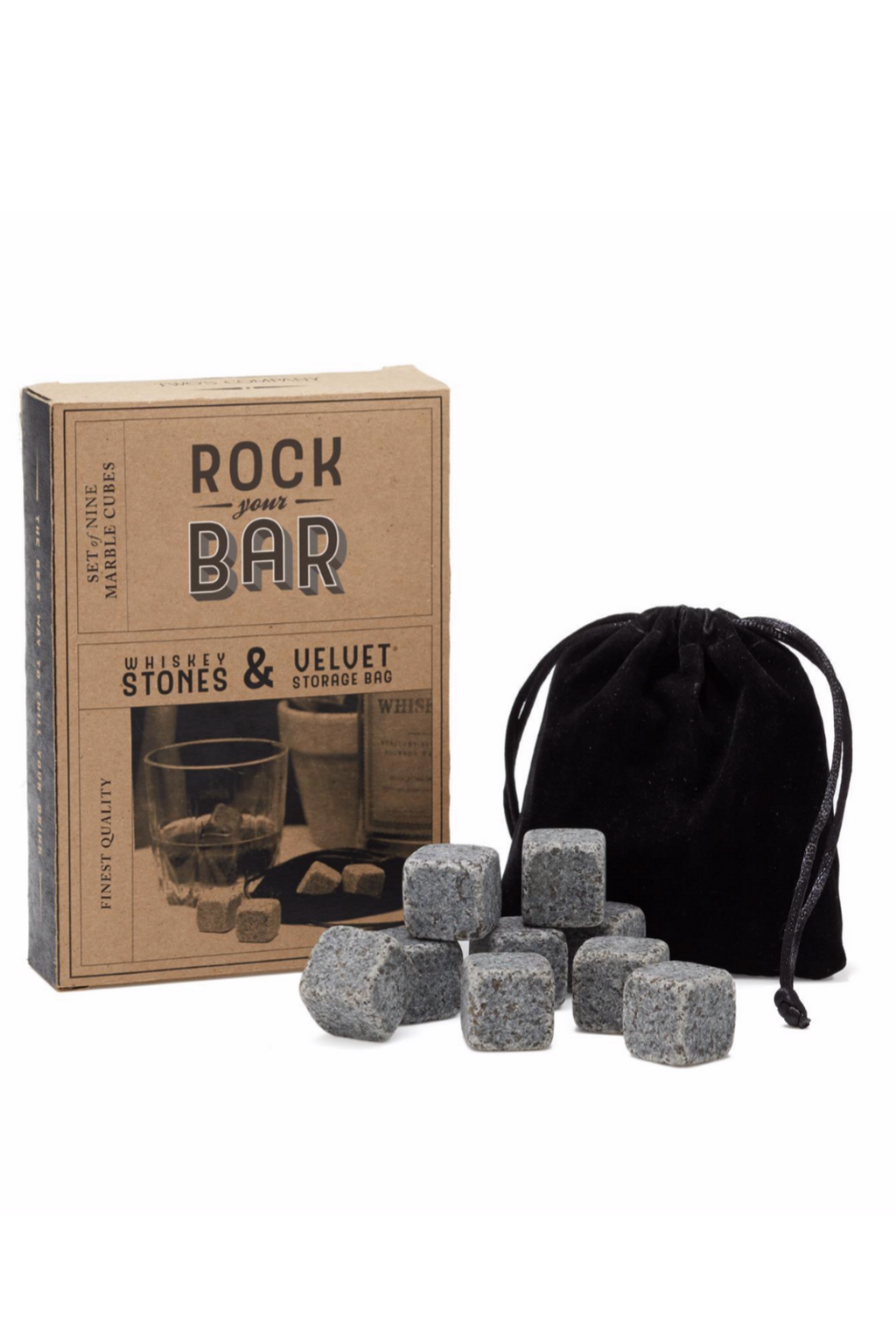 Set Of 9 Whiskey Stones And Pouch