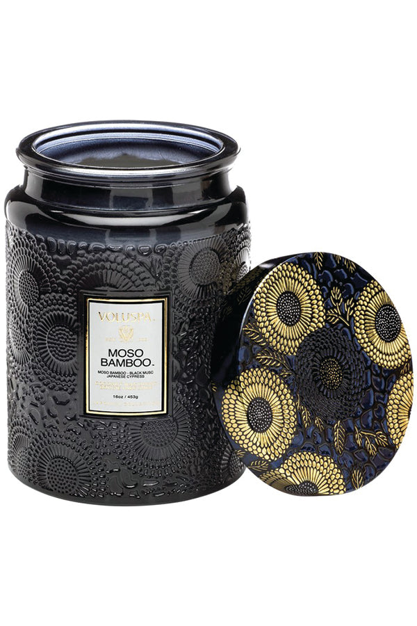 Voluspa Large Embossed Glass Jar - Moso Bamboo