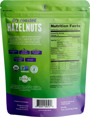 Organic Dry Roasted Hazelnuts by Rivulet Farm -  6 oz - Unsalted