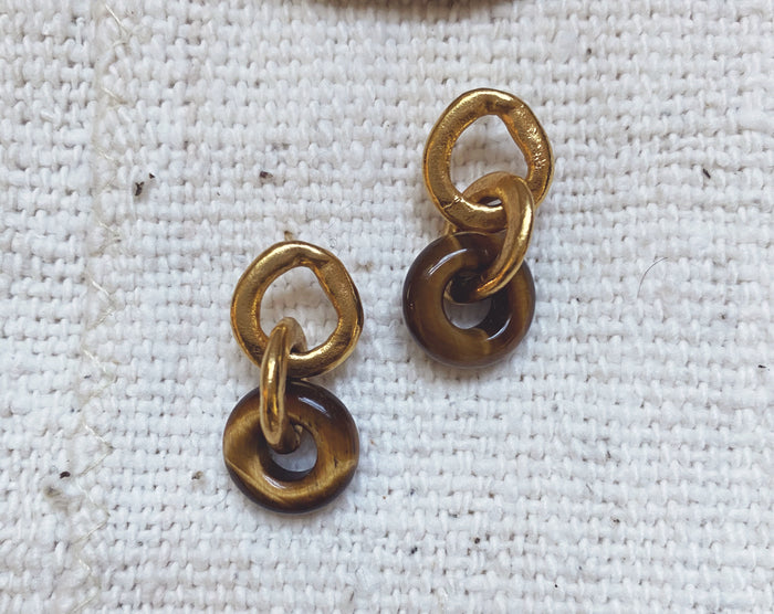 Tiger's Eye Chain Link Earrings // Ready To Ship