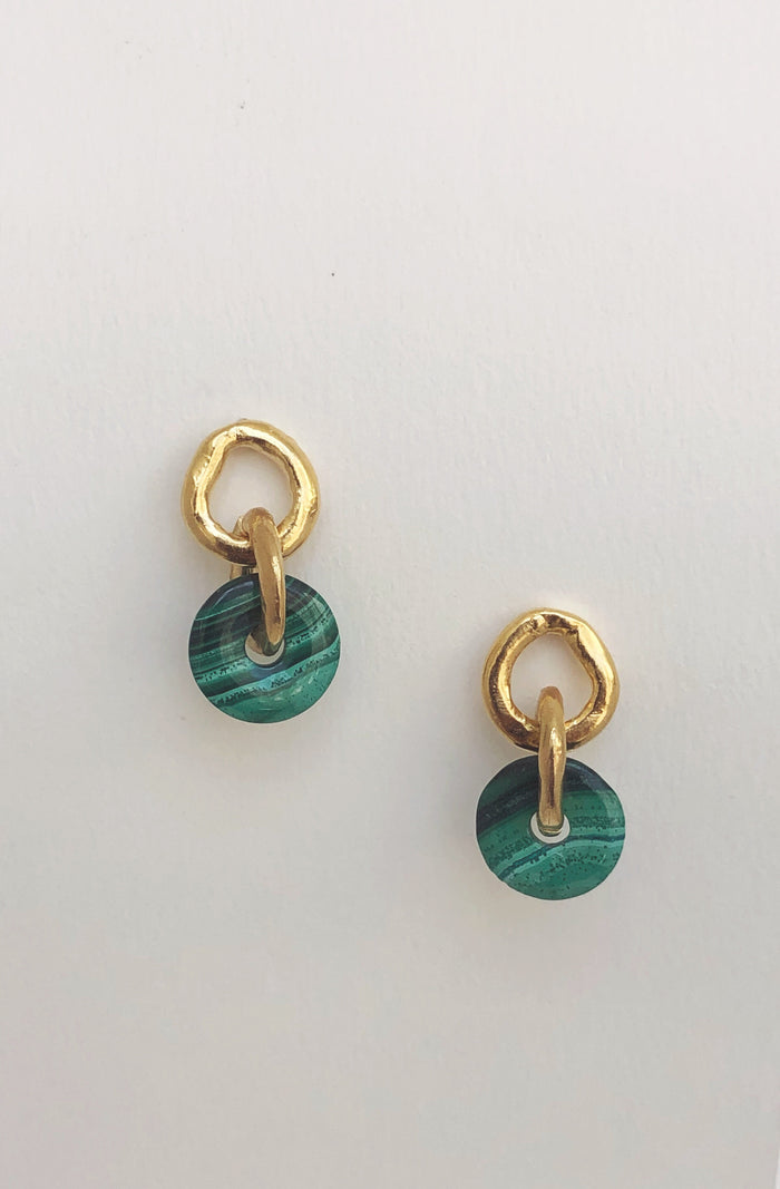 Malachite Chain Link Earrings // Ready to Ship