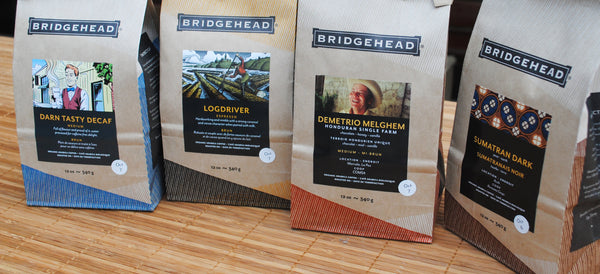 Our new decaf, espresso, medium, and dark packaging.