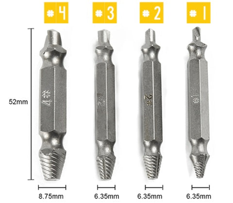Screw Extractor - Damaged Screw Extractor (Set Of 4)