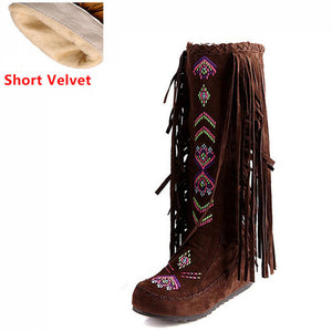 Style Flock Leather Women Fringe Long Boots