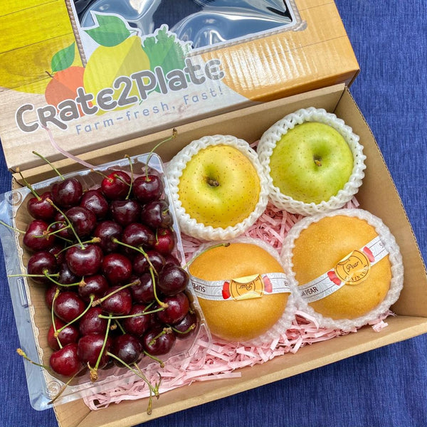 GIFT BOX Chilean Red Cherries, JP Ourin Apples and Premium Korean Pears