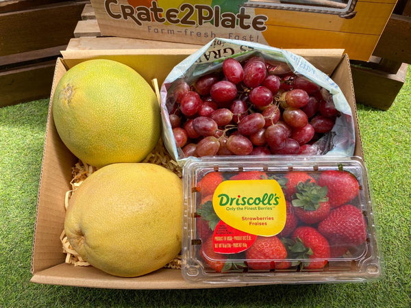 Gift Box Regular Pomelos, Red Seedless Grapes, Driscoll's Strawberries