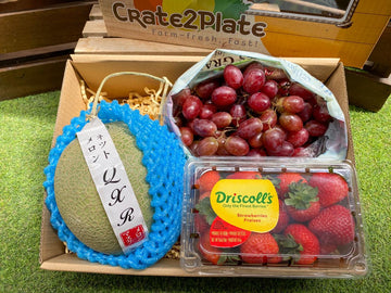 Gift Box Japan Musk Melon, Red Seedless Grapes, Driscoll's Strawberries