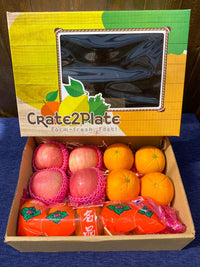Gift Box Korean Persimmons, Fuji Apples, and Navel Oranges