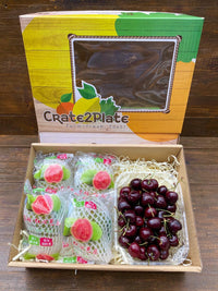 Gift Box Half Kg Chilean Red Cherries and Taiwan Red Guava